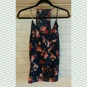 racerback ruffled floral print sleeveless blouse